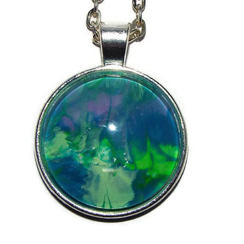 "Necklace, Handcrafted, OOAK, ""Cavern"", Free shipping, Valentines Day, Green, blue, Purple, Round pendant, Gift for her"