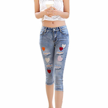 Summer Fashion Women Capris Holes Colorful Heart Female Denim Pants Feet