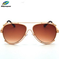 Brand Designer 2016 New Classic Luxury Pilot Sunglasses Women Hollow Out Metal Frame  Sun Glasses Driving Mirror Eyewear male