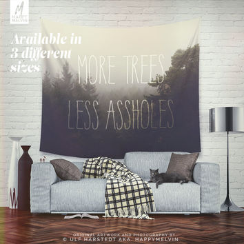 More trees please - Wall Tapestry - Tapestry - Forest - Forest Tapestry - Boho - Quote - Boho - Dorm Room - Wall Decor - Christmas Gift