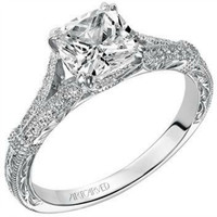 "Artcarved ""Angelina"" Split Shank Diamond Engagement Ring Featuring Engraved Band"