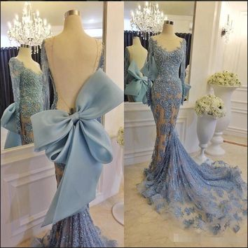 Luxury Long Applique Sequins Prom Gown With Elegant Sheer Scoop Neck Long Sleeve Open Back Evening Dresses 2017 New