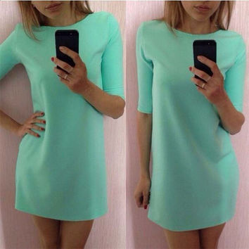 Durable 2017 summer dress New women dress  Lady Mint Green Half Sleeve Loose Dress Clothes  vestido de festa
