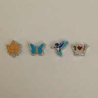 Floating charms for living memory lockets - fall leaf, blue butterfly, blue hummingbird, silver watering can with red heart