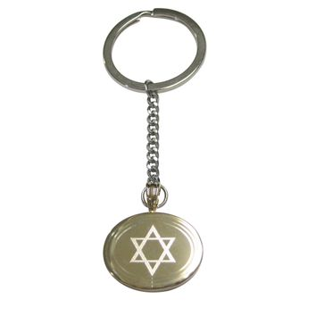 Gold Toned Etched Oval Religious Star of David Pendant Keychain