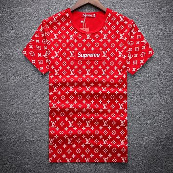 Boys & Men Louis Vuitton X Supreme Fashion Casual Shirt Top Tee