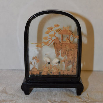 Chinese Cork Carving Diorama Vintage Cranes Pagoda Trees Decor Asian Hand Carving Cork Art Sculpture Under Glass Curiosity Cabinet Desk