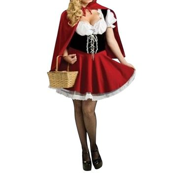 New Little Red Riding Hood Costume Halloween cosplay women clothing fairy tale dress uniform role playing Plus Size