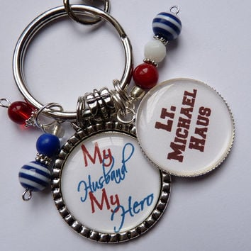 My Husband my hero keychain patriotic red white blue military corps united states army navy marines beautiful quote personalized