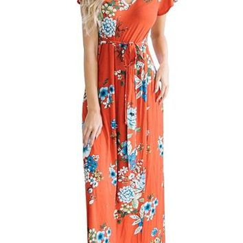 Poppy Red Floral Print Cap Sleeve Maxi Dresses
