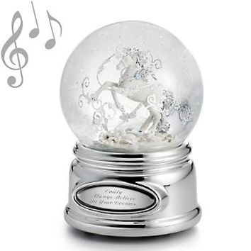 Personalized Unicorn Musical Water Globe , Add Your Message