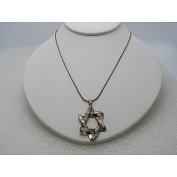 "Sterling  Star of David Necklace, Prodesso, Israel, 18"" Sterling Wheat Chain, Post Mid-Century"