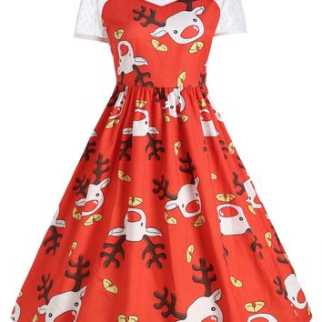 Chicloth Cute Reindeer Christmas Round Neck Short Sleeve Vintage Dress
