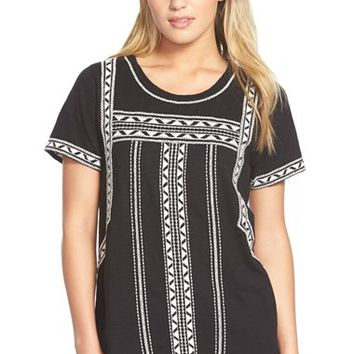 Women's Lucky Brand 'Pop' Embroidered Tee,