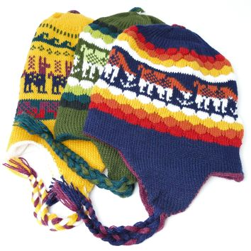 "10 Assorted Reversible ""Chullo"" Hat Alpaca Wool Unisex Two In One Unique Designs"