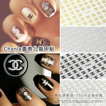 DCCKNQ2 Chanel Inspired Nail Decals Logo Stickers Applique Manicure Pedicure Nail ornaments Nail Sticker