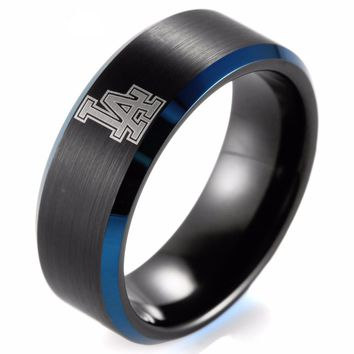 LA 8mm Black Beveled blue Two-Toned Tungsten Carbide ring laser Baseball Los Angeles Dodgers Ring Band