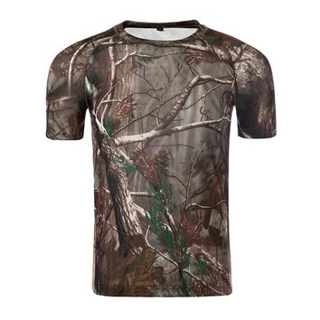 Hiking Outdoors Hunting Camouflage T-shirt Men Breathable Army Tactical Mesh T Shirt Military Quick Dry Sport Camo Outdoor