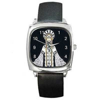 Art Deco Erte's Venere in Pellicia on a Square Watch and Leather Band