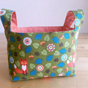 Small Fabric Storage Bin Basket ~ Foxes, Leaves and Acorns with Orange Dot