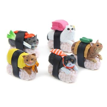 5pcs/lot Delicious Food Series Japan Sushi Cat Figures Toys DIY Micro Landscape Decoration Toys Model Children Christmas Gift