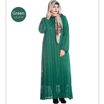 YSMARKET Women Lace Maxi Long Sleeve Muslim Dress Clothing Malaysia Abaya KazakhstanTurkish Islamic Plus Size Robe Femme Ete Y07
