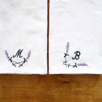 lavender monogram tea towel / monogrammed / spring / spring home decor / embroidered / embroidery / personalized gift / mothers day / set