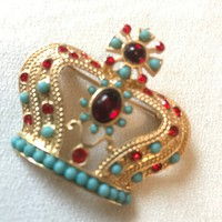 Regal Vintage 80'S Glamour Red& Turquoise MOGUL MOGHUL Royal Crown Pin Brooch