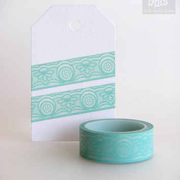 WASHI TAPE, ornamental lace pattern in turquoise