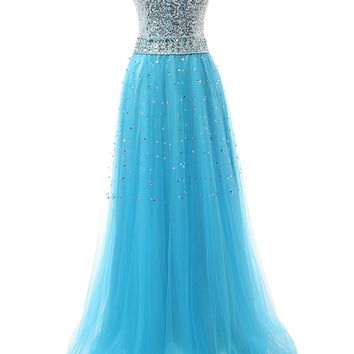 Topwedding US Women's Sequins Tulle Long Sweetheart Formal Evening Dress Prom Gown