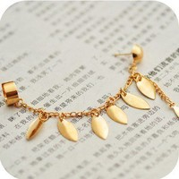 Fashion new design Unique Leaf Tassels Ear Clip-on Stud Earring free shipping