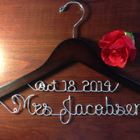 Personalized Date on Top Wedding hanger, personalized custom Bridal, Brides Hanger, Wedding Hanger, Personalized Bridal Gift.