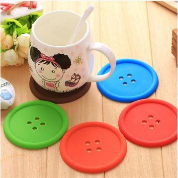 ICIK272 1pcs Silicone Cup mat Cute Colorful Button Cup Coaster Cup Cushion Holder Drink Cup Placemat Mat Pads Coffee Pad