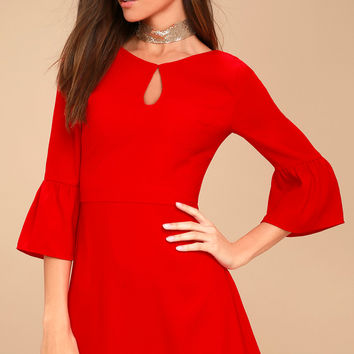 Cornelia Red Flounce Sleeve Dress