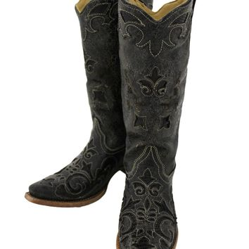 Corral Black Vintage Lizard Inlay Snip Toe Boots C1198