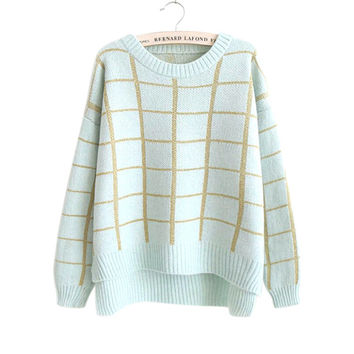 Long Sleeve Pullover Knit Tops Sweater Winter Jacket [8422525313]