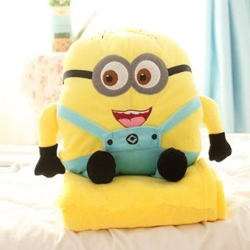 Despicable Me Minions Shaped Plush Hand Warmer Throw Pillow Blankets (two-eye, 170*110cm blanket)