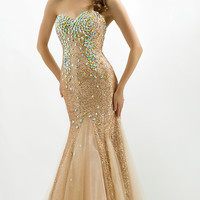 Long Strapless Sequin Mermaid Gown