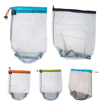 Tavel Camping Sports Ultralight Mesh Sack Drawstring For Sleeping Bag Stuff Storage Bag Free Shipping