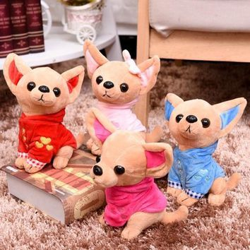 2017 OCT New Hot Small Vest Chihuahua Dog Plush Toy Stuffed About 17CM 25cm Children Birthday Christmas Present 1pcs Four Colors