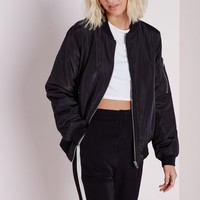 SILK PADDED BOMBER JACKET BLACK