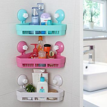 Plastic Bathroom Organizer Corner Triangle Sucker Storage Racks Wall Mounted Bathroom Shelves Holder Home Storage Rack