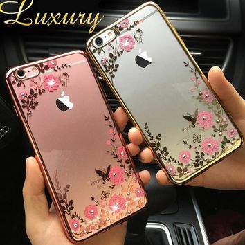 Lace Flower Soft Clear Diamond Mirror Metal Flash Frame+Soft Silicon Gel Case For iPhone 6 6S 7 Plus 4 4S SE 5 5s Cover Back