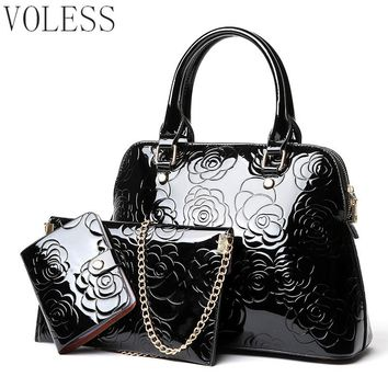 High Quality PU Leather Women Bags Floral Printing 3pcs Set Women Handbags Purse Cultch Composite Messenger bag Leisure Tote Sac