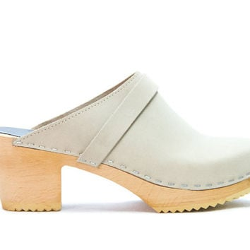 Dublin Sandal - Sandals - Mid Heel - Nubuck Leather - Sandgrens Clogs - Women Trend - Trendy Heels - Swedish Shoes - Fashion Footwear