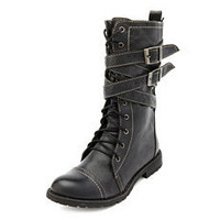 Lace-Up Buckle Strap Combat Bootie: Charlotte Russe