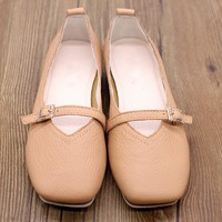 Handmade Leather Buckle Square Toe Flats Beige/Camel
