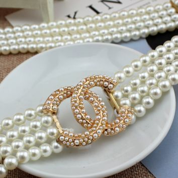 CHANEL New fashion four-row more pearl women belt