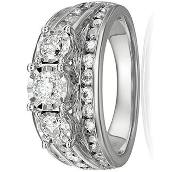 CERTIFIED 2cttw 2.9mm 10k White Gold 3-Stone  Diamond Wedding Ring Set ( I-J Color)