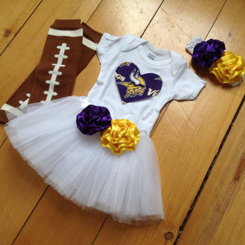 Minnesota Vikings inspired Baby girl football fan tutu set made with Minnesota Vikings fabric Onesuit tutu headband leggings baby shower gift